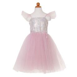 Zilver roze prinsessen jurk 3-4