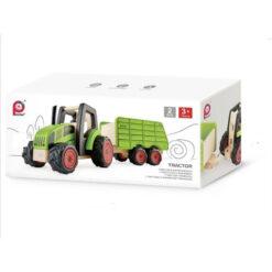Houten traktor met aanhanger