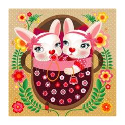 kaart tweeling baby konijn