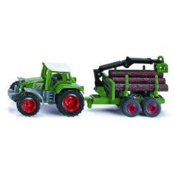 Tractor met houttransport-aanhanger