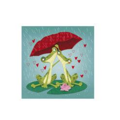 kaart kikkers onder paraplu