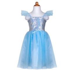 pailletten prinsessen jurk blauw 5-6 jaar