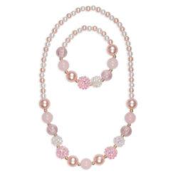 roze parel ketting en armband